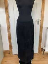 Black Suede leather Long Skirt Size 12 By Agenda