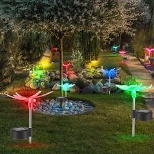 12 x LED SOLAR Lampen RGB Schmetterling Garten Erdspieße Libellen Leuchten Bunt