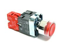 Illuminated Red Round Pushbutton LED 120V  22mm 1NC Contact Block 10A 240V New