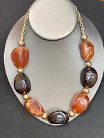 """Vtg Bib Statement Necklace Imitation Tortoise Shell Amber Beaded Strand  18"""""""