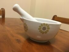 LARGE LAURA ASHLEY CERAMIC MORTAR & PESTLE retro groovy white age green vgc
