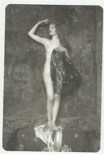 French nude woman Naked standing on a chair real photo postcard REPRINT COPY