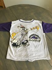 RARE Vintage Bugs Bunny MLB Rockies Baseball Tee Shirt Looney Tunes Colorado Sun