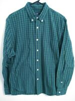 J Crew Mens Size Large Green Blue Plaid Cotton Long Sleeve Button Up Shirt