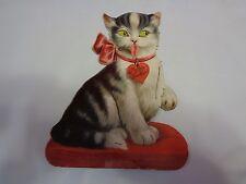 Antique/Vintage Valentine Card German Mechanical Squeaky Cat Rare Find