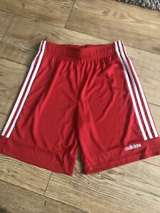 boys adidas climalite Shorts Sports Gym Age 13-14 Red White Worn Once