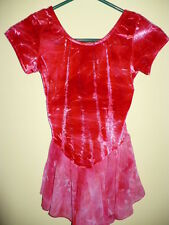 Ice Skating Dress Competition red & pink tie dye velour sheer skirt 12 14 S#1a