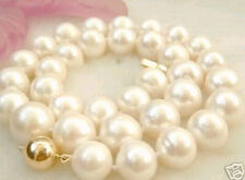 "10-11MM White Akoya Pearl Necklace 18"" 14K Clasp LL008"