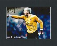 MANUEL ALMUNIA ARSENAL HAND SIGNED MOUNTED AUTOGRAPH PHOTO WITH COA