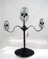 Glittered SKULL CANDELABRA Creepy HALLOWEEN Gothic Decor NEW Made of Metal