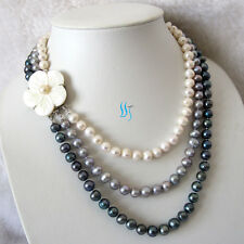 "17-20"" 7-9mm 3 Row Freshwater Pearl Necklace WGP UK"