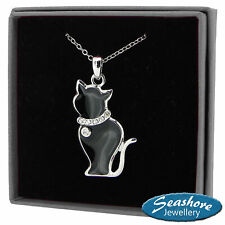 "Black Cat Necklace Enamel Pendant Silver Fashion Jewellery 18"" 45cm Gift Boxed"