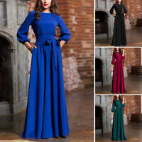 Womens Long Sleeve Gown A Line Solid Maxi Sundress Round Neck Plus Size Dress