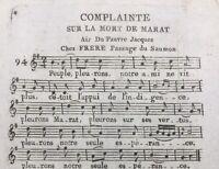 Marat 1793 Charlotte Corday Complainte sur la Mort de Marat Révolution Française