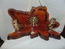 Vintage Redwood?  Mantel Clock Owls Battery Handmade? 70's