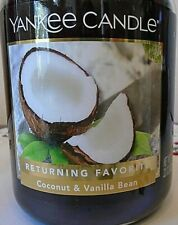 Yankee Candle Coconut & Vanilla Bean  22 oz Returning Favorite. Free Shipping