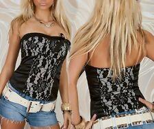 SEXY MISS Femmes Bustier Corsage Top Satin Brillant Dentelle M 38 Noir Blanc Contour