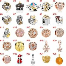 European Silver Charms Hearts Beads CZ Xmas Pendant Fit 925 Sterling Bracelets