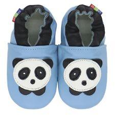 carozoo panda baby blue 6-12m soft sole leather baby shoes