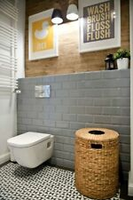 TILE SAMPLES London Bevelled Warm Grey Gloss Metro Bathroom Tiles 10 x 20cm