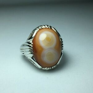 Natural Two Eyes Sulaimani Agate men heavy silver ring DHL SHIPPING عقيق سليماني