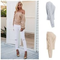 Beige & Gray Tie Sleeve One Off The Shoulder Slouch Sweater D34
