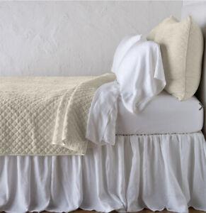 Bella Notte King Size Parchment Silk Velvet Quilted Coverlet MSRP $1,694
