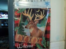 New listing Evergreen Welcome Alpine Deer Holiday Fabric Garden Flag 18 by 12 Inch Brand New