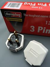 Genuine MK Duraplug 13 Amp Heavy Duty Tuff Rubber UK 240v Mains Plug WHITE
