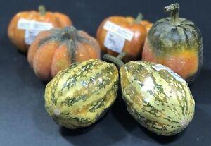 Thanksgiving Fall Tabletop Decor Pumpkin Squash Eggplant 6 Piece Set Pier 1 NEW