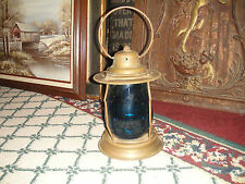 Vintage Brass Metal Barn Lantern-Electric Lantern-Blue Globe Glass-LQQK