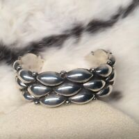 Beautiful Taxco 925 Puff Quilt Look Cuff Sterling Stamped TB-166 Heavy Bracelet