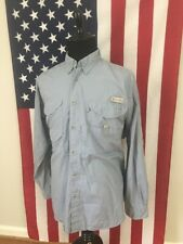Columbia PFG Vented Fishing Shirt men's LARGE long sleeve l/s Hiking Blue 16746