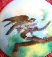 ANTICA MINIATURA CON AQUILA A CACCIA SU PORCELLANA bird oil painting 19th