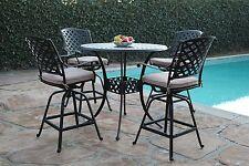 Kawaii Collection Cast Aluminum Outdoor Patio Furniture 5 Piece Bar Table Set K