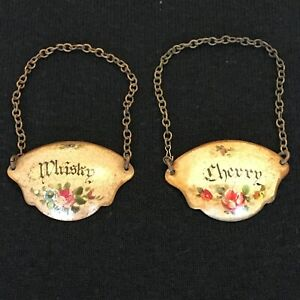 Antique Rare Pair Metal Decanter Labels - Whisky and Sherry