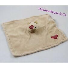 Doudou plat ours BIODOURS beige coeur rouge 100% bio (VA/MO4812)