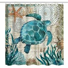 Blue Sea Turtle Shower Curtain With 12 Hooks Bath Mat Toilet Cover Rug Decor Set