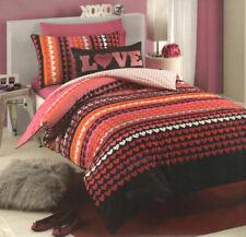 Love Lee Pink Orange Black Silver Hearts Single Bed Quilt Duvet Cover Set
