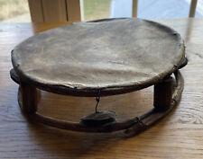 Vintage Primitive Appalachian Style Handmade Tambourine Hide Skin Twigs Wire Tin