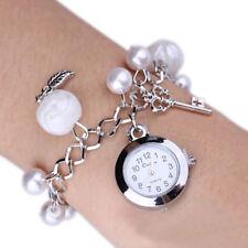 Women Charms Faux Pearl Pendant Bracelet Quartz Wrist Bangle Exquisite Watch