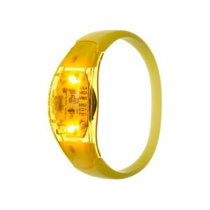 24 Yellow Sound Activated LED Bracelets Light Up Flashing Voice Control Bangle