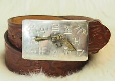 Vintage Chambers Western Belt Buckle Revolver Gun Stamped Leather Belt Size 26