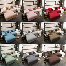 L Shape Sectional Sofa Covers Polyester Fabric Stretch Slipcovers Corner 2pcs