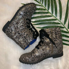 LN~JUSTICE~BOOTS/BOOTIES/SHOES~BROWN/KHAKI~LEOPARD~GIRLS 4~SILVER STUDS