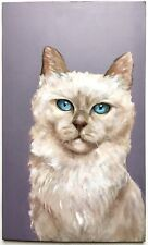 Fine Original Oil Painting White Balinese Cat Realism Portrait Mystery Artist