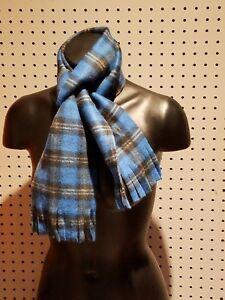 New Handmade Women's / Men's Blue, Black, & White Plaid Fleece Winter Scarf