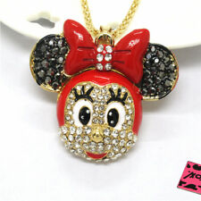 New Betsey Johnson Cute Red Rhinestone Bow Mouse Head Minnie Pendant Necklace