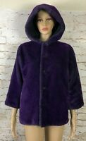 Sonia Rykiel Reversible Coat Purple Faux Fur Black Waterproof Childs 8 XS Adult