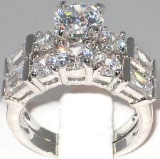Luxurious 6.5 Ct. CZ Platinum EP Bridal Engagement Wedding Ring Set - SIZE 9